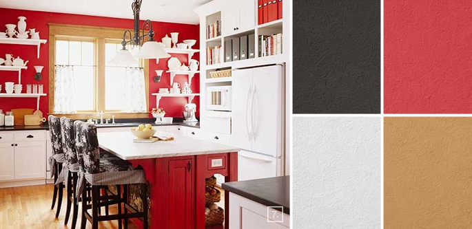 A palette guide for kitchen color schemes decor and paint for Red kitchen paint ideas