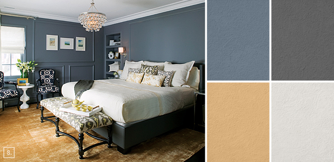 Wall paint color benjamin moore steel wool 2121 20 the for Bedroom color schemes