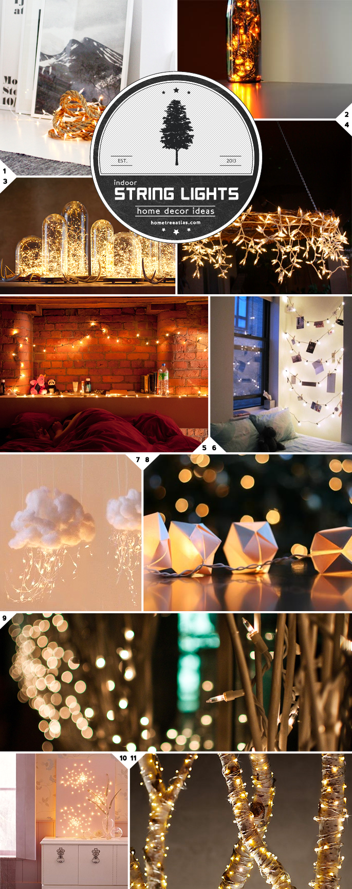 Home decor ideas beautiful ways to use string lights for Home decor ideas string lights