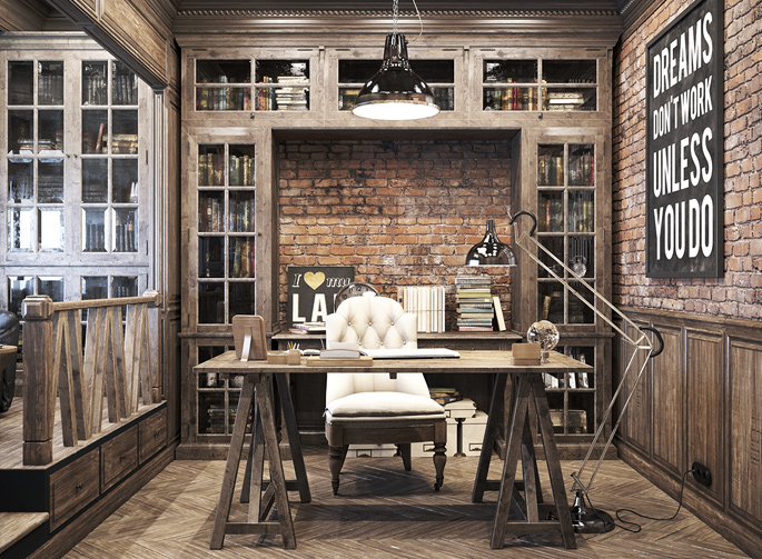 Creative industrial lamps - Epic Vintage Home Office Design Home Tree Atlas