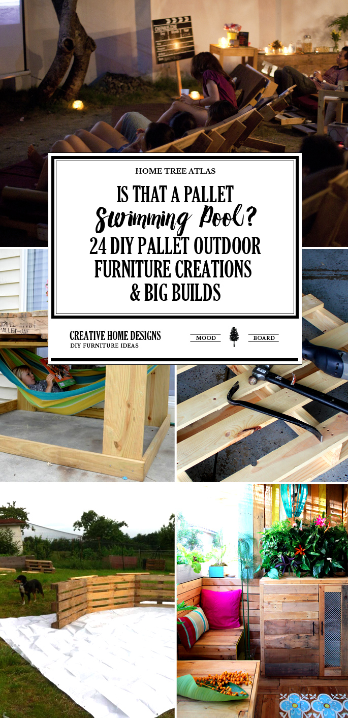 """Is That a Pallet Swimming Pool"""" 24 DIY Pallet Outdoor Furniture Creations and Big Builds"""