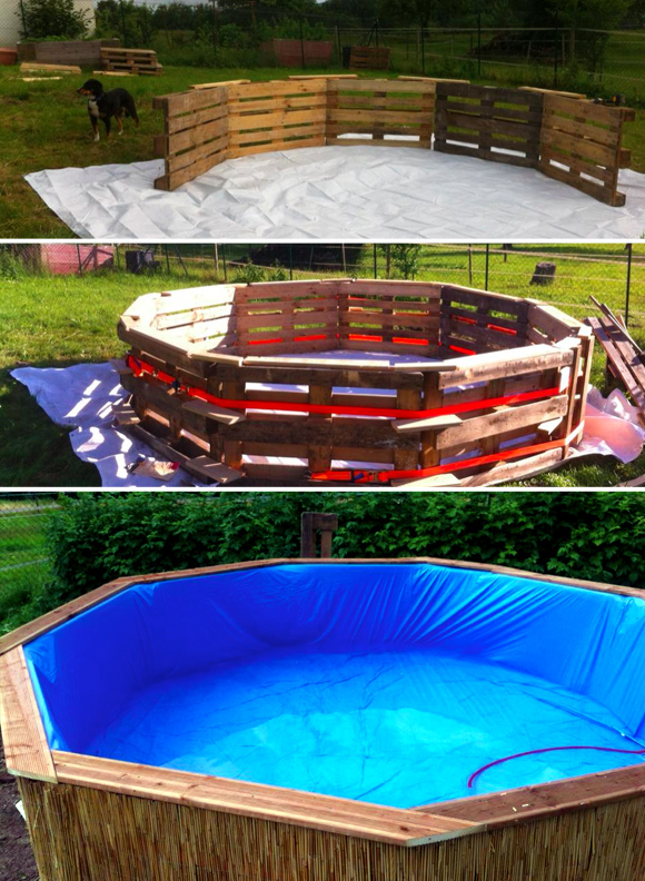 7 diy swimming pool ideas and designs from big builds to for Pond made from pallets