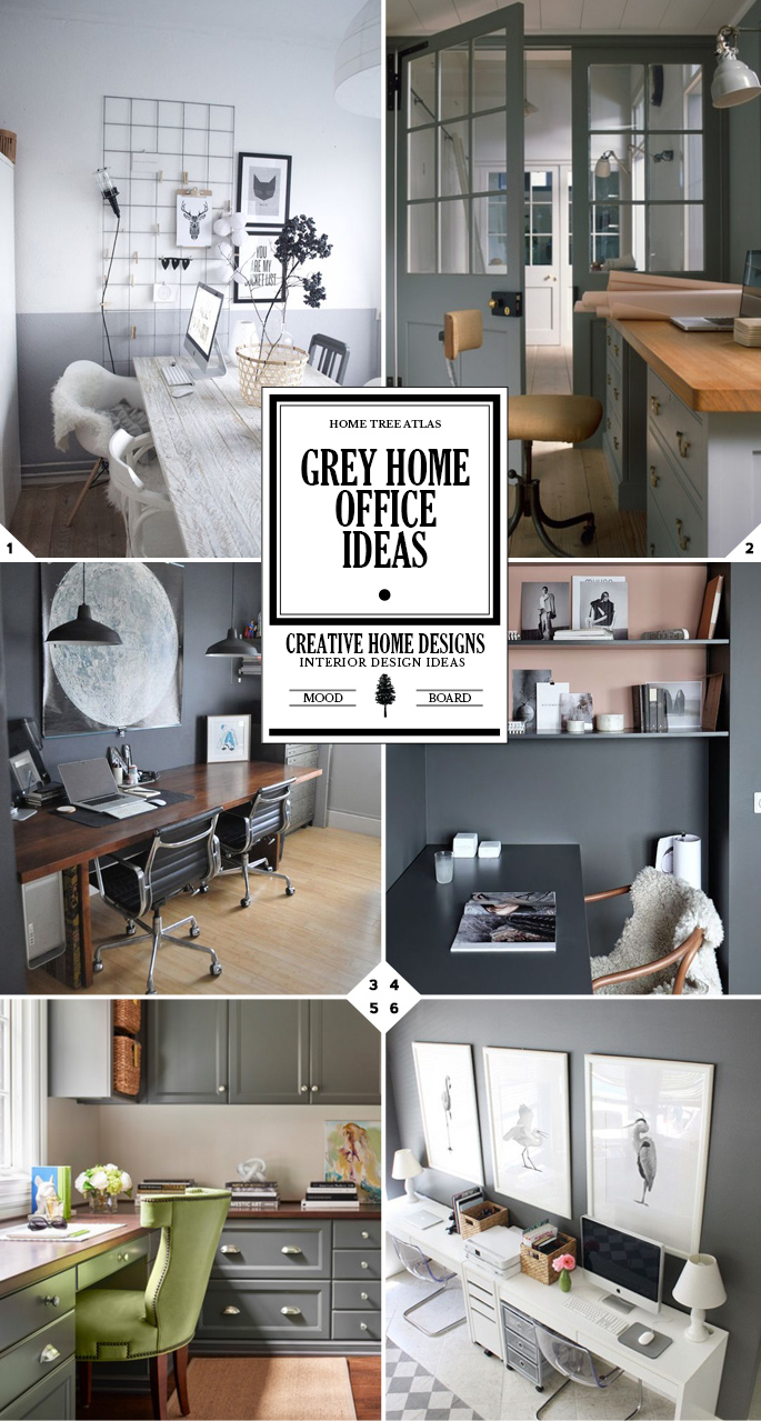 Work in style grey home office ideas interior design Gray office ideas