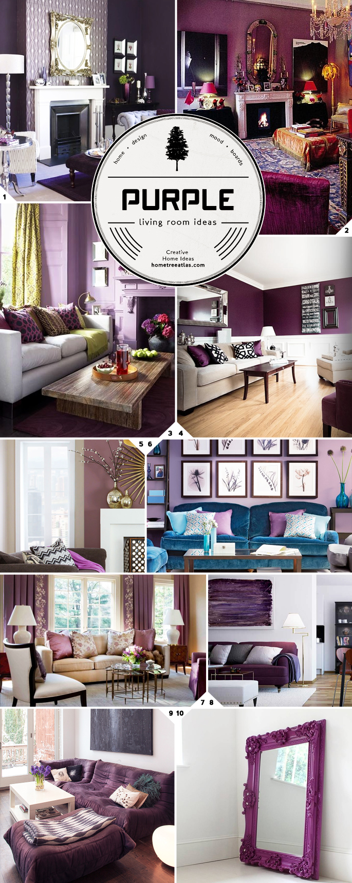 the color palette purple living room ideas and design tips home tree atlas. Black Bedroom Furniture Sets. Home Design Ideas