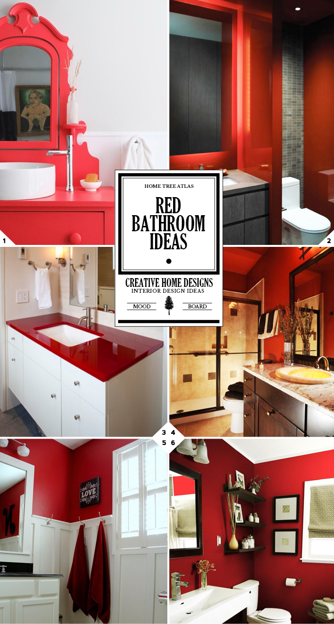 Color Style Guide: Red Bathroom Ideas and Decor Accessories